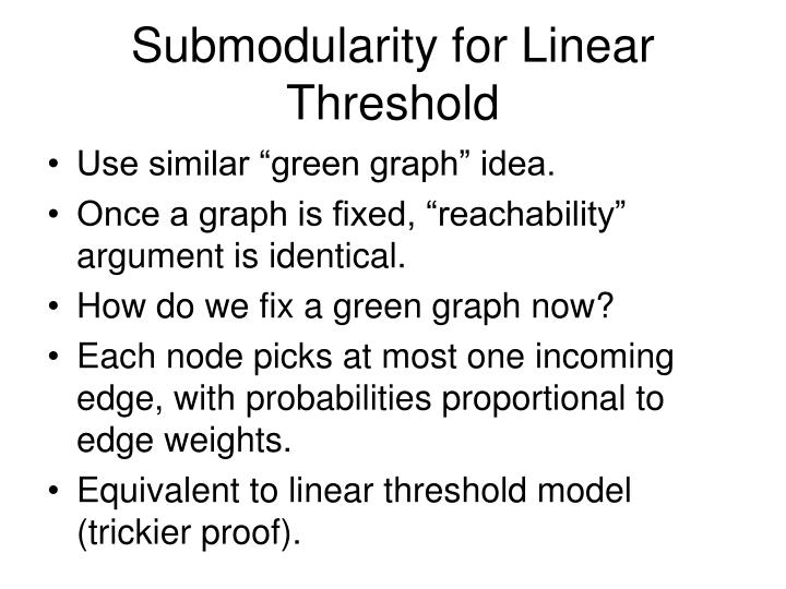 Submodularity for Linear Threshold