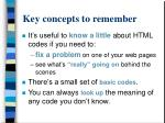 key concepts to remember