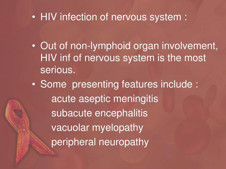 HIV infection of nervous system :