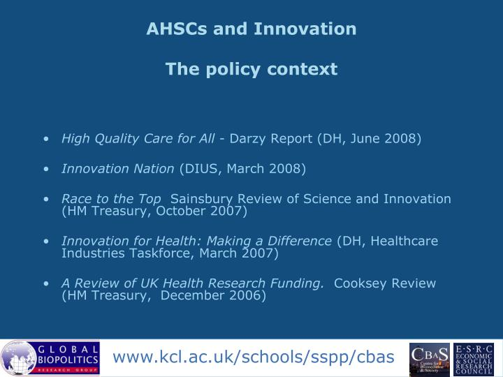 Ahscs and innovation the policy context
