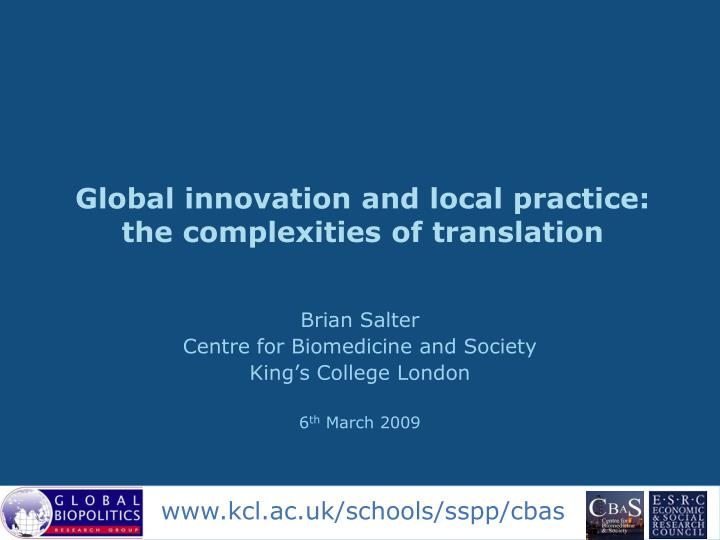 Global innovation and local practice the complexities of translation