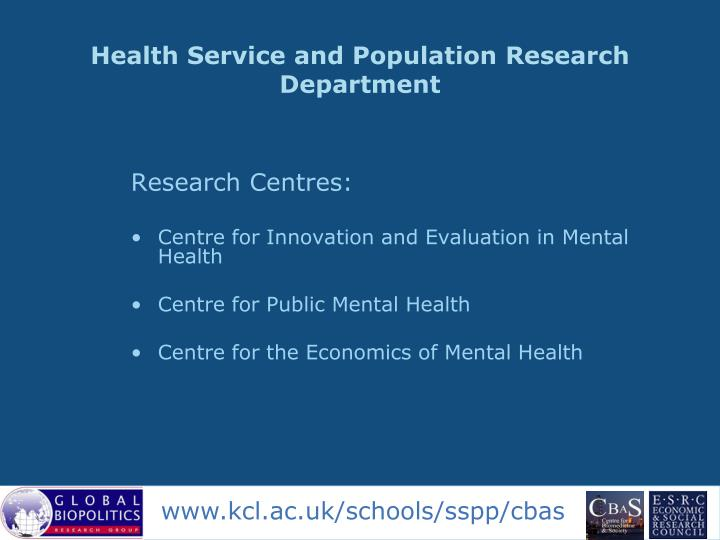 Health Service and Population Research Department