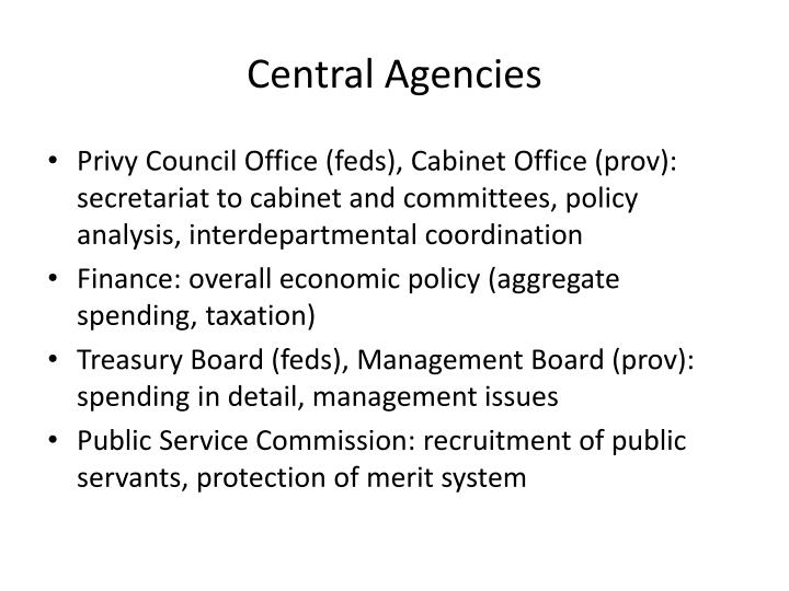 Central Agencies