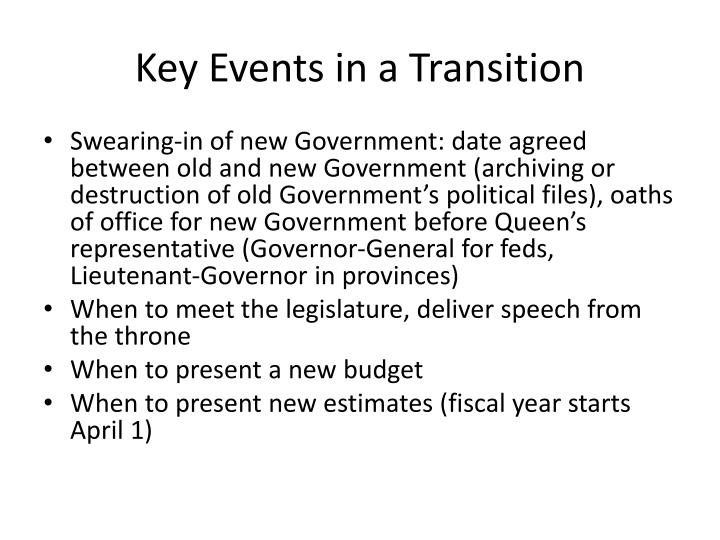Key Events in a Transition