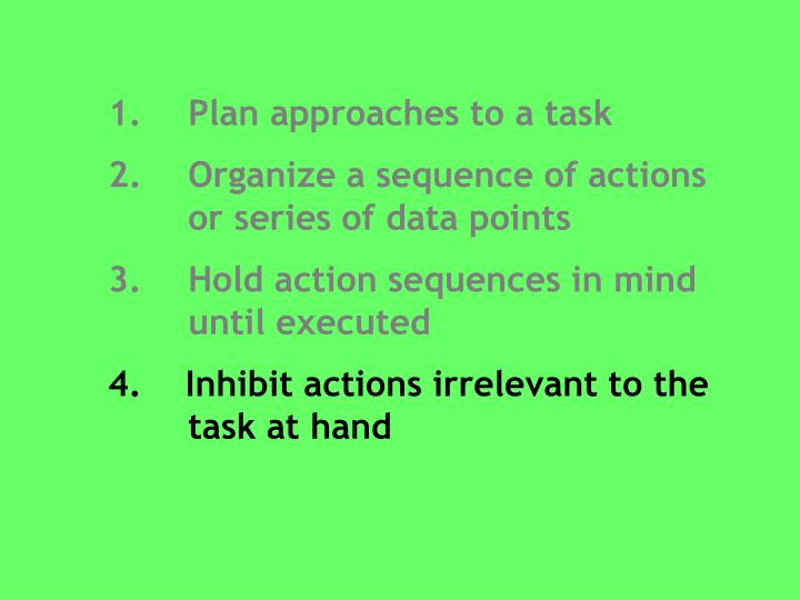 1. 	Plan approaches to a task