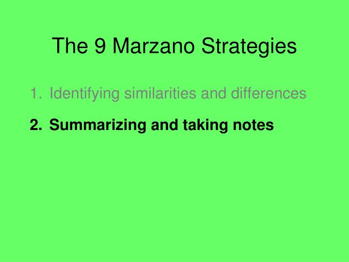 The 9 Marzano Strategies