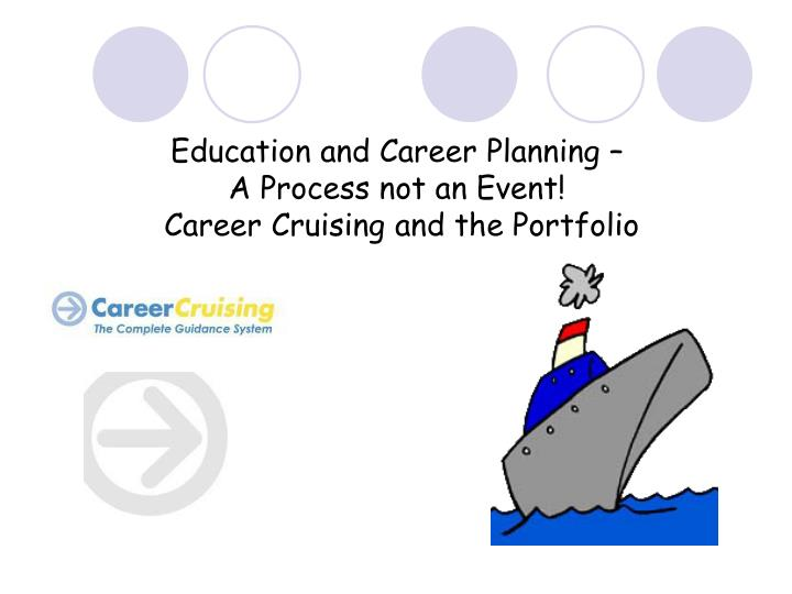education and career planning a process not an event career cruising and the portfolio n.