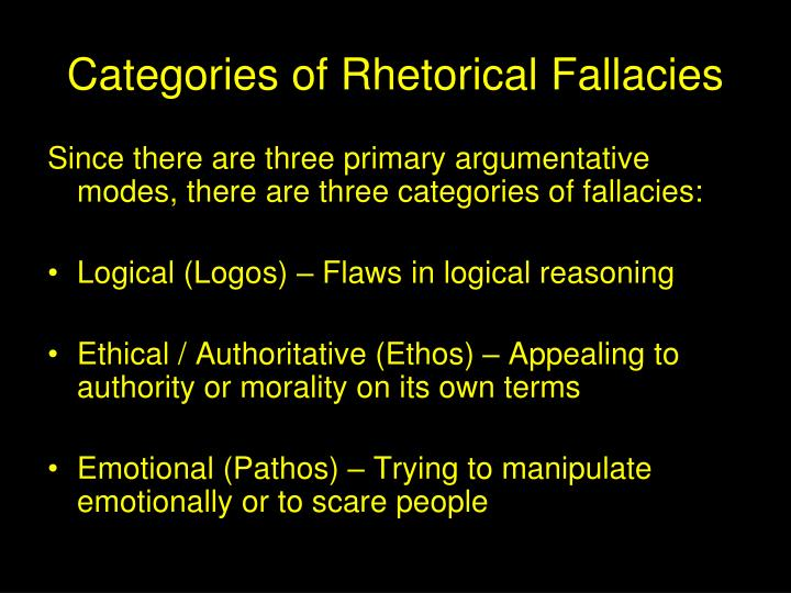 Categories of Rhetorical Fallacies