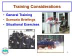 training considerations