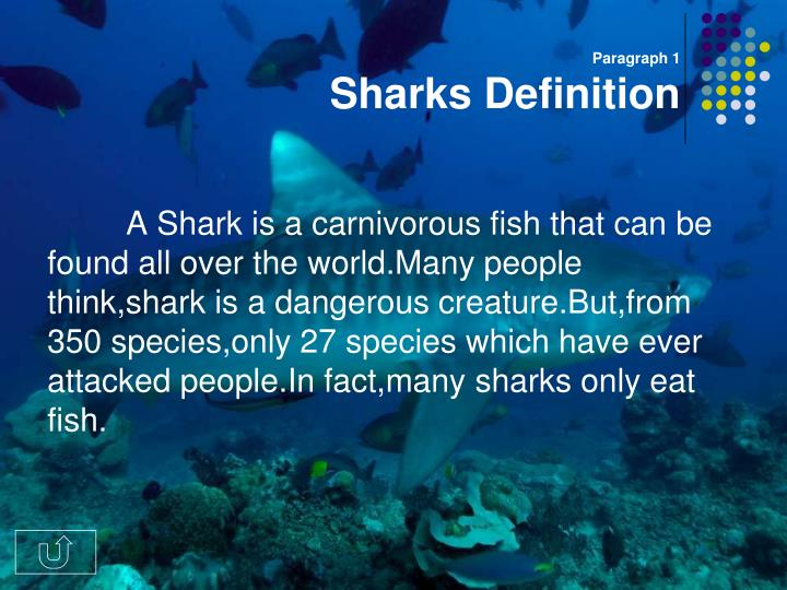Paragraph 1 sharks definition