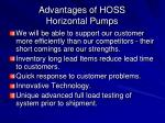 advantages of hoss horizontal pumps