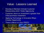 value lessons learned