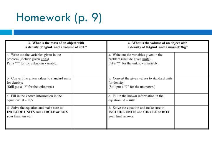 Homework (p
