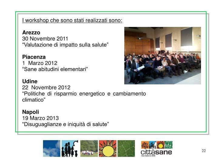 I workshop che sono stati realizzati sono: