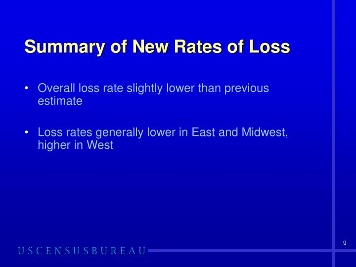 Summary of New Rates of Loss