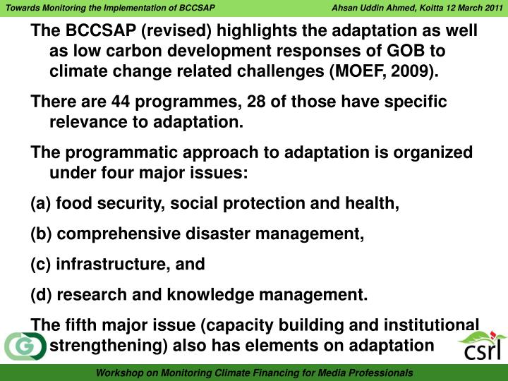 Towards Monitoring the Implementation of BCCSAP