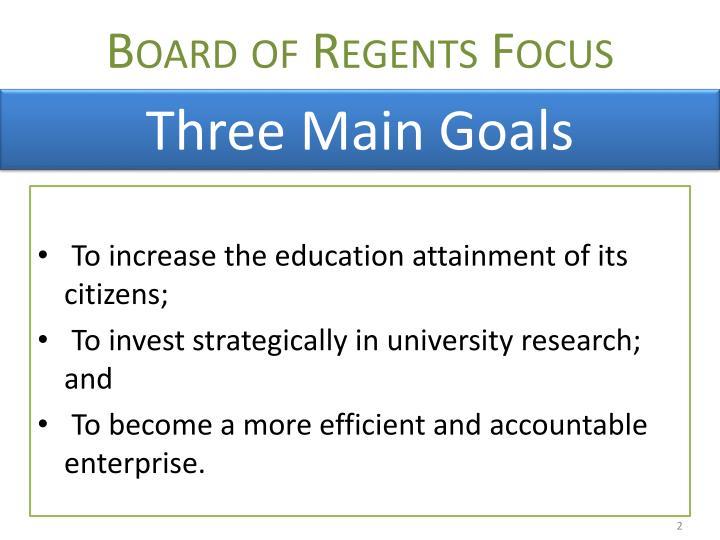 Board of regents focus