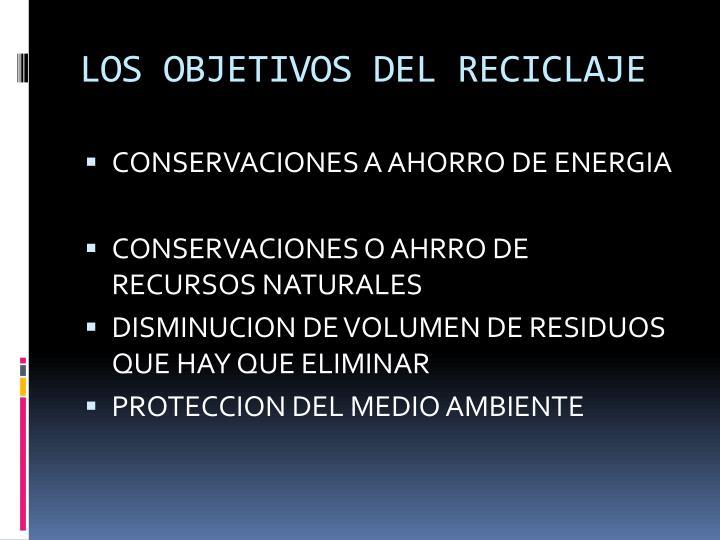 LOS OBJETIVOS DEL RECICLAJE