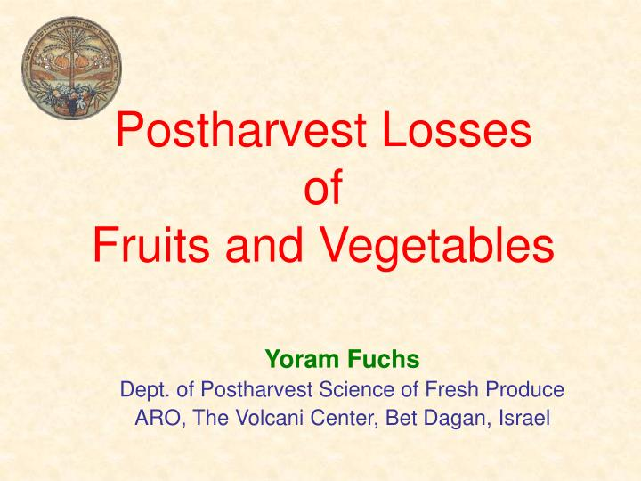 postharvest losses of fruits and vegetables n.