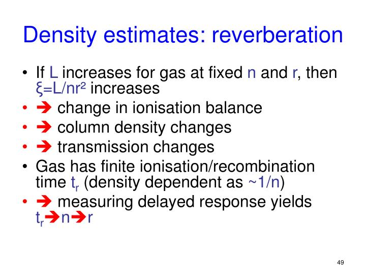 Density estimates: reverberation