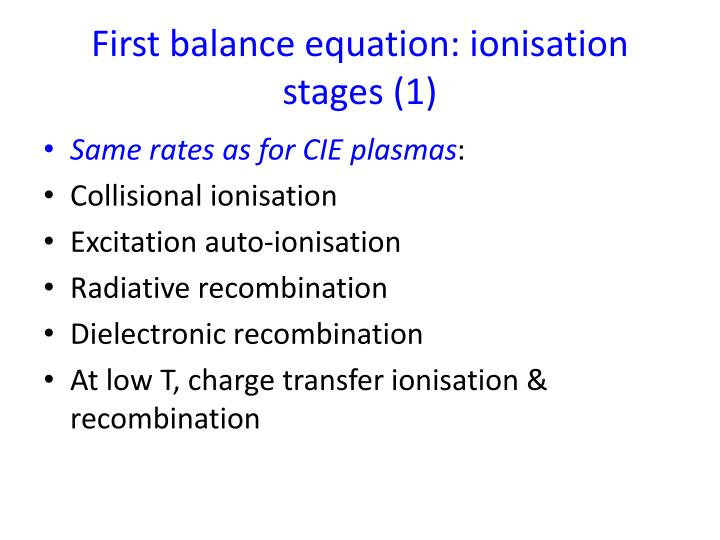 First balance equation: