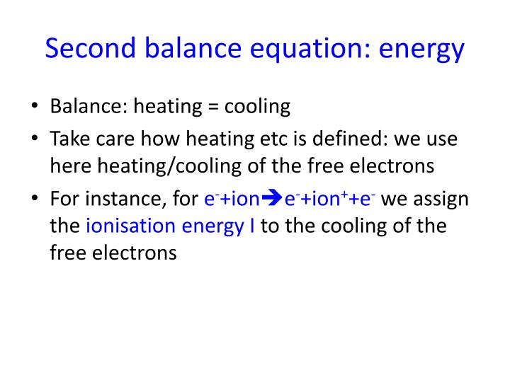 Second balance equation: energy
