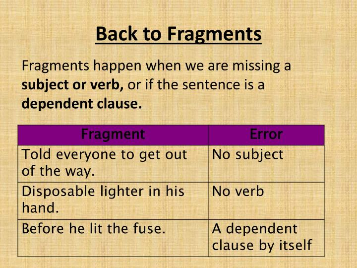Back to Fragments