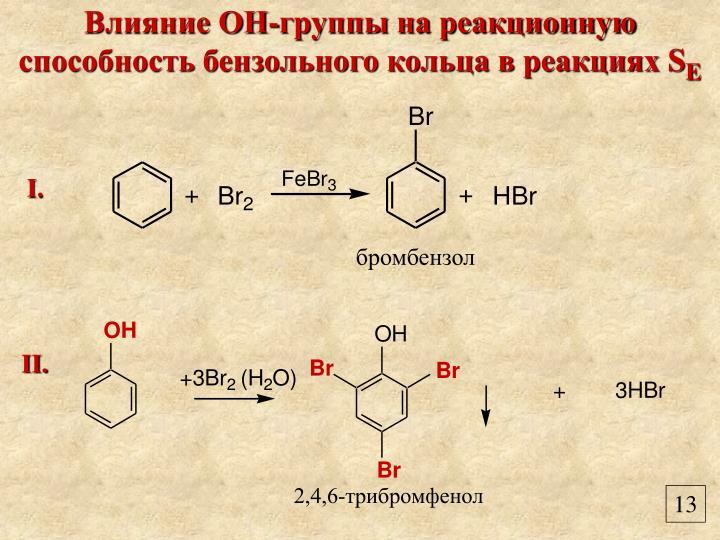 Влияние ОН-группы на реакционную способность бензольного кольца в реакциях