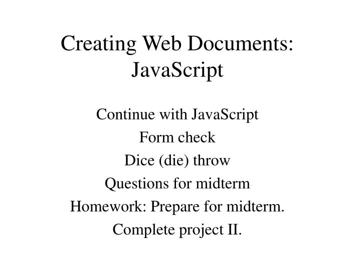 creating web documents javascript n.