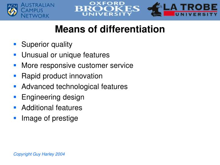 Means of differentiation