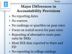 major differences in accountability provisions
