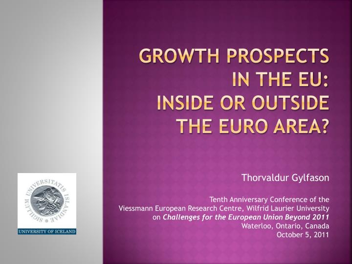 growth prospects in the eu inside or outside the euro area n.
