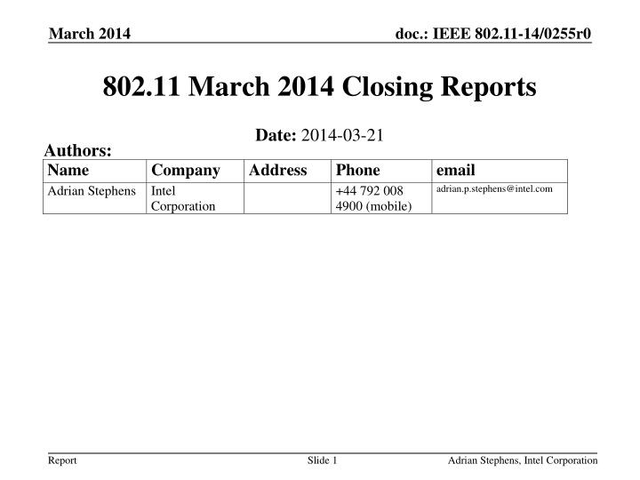 802 11 march 2014 closing reports n.