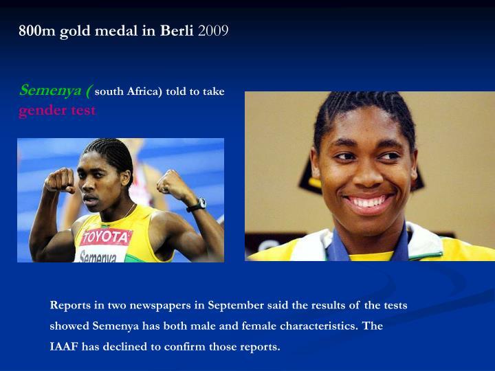 800m gold medal in Berli