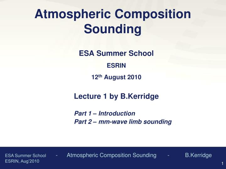 atmospheric composition sounding n.