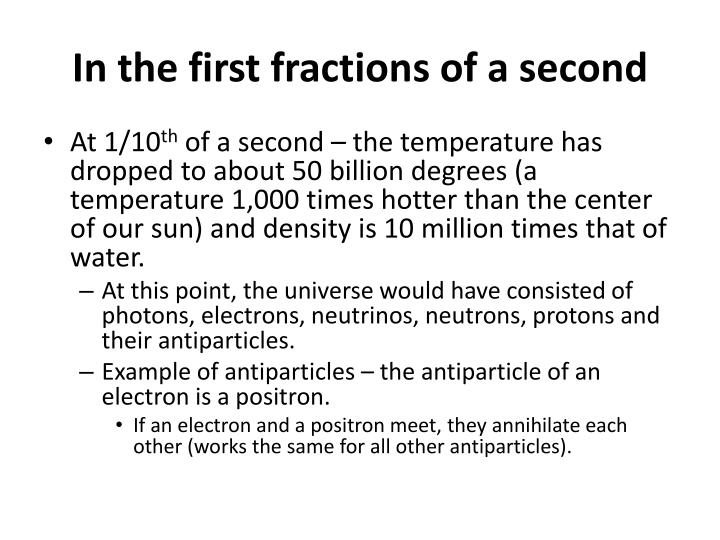 In the first fractions of a second