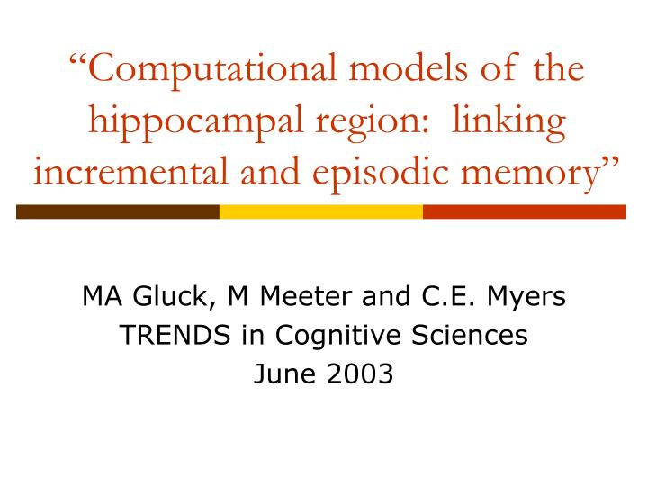 Computational models of the hippocampal region linking incremental and episodic memory