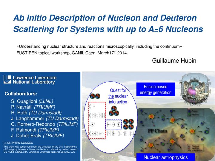 ab initio description of nucleon and deuteron scattering for systems with up to a 6 nucleons n.