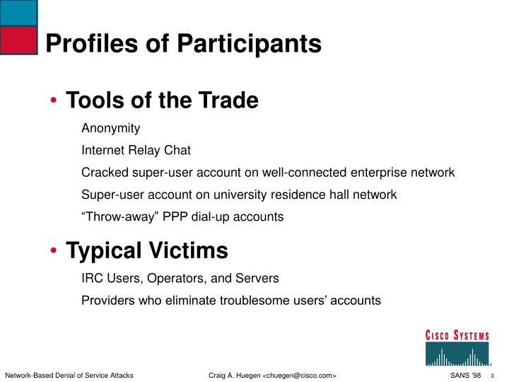 Profiles of participants