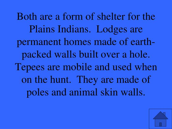 Both are a form of shelter for the Plains Indians.  Lodges are permanent homes made of earth-packed walls built over a hole.  Tepees are mobile and used when on the hunt.  They are made of poles and animal skin walls.