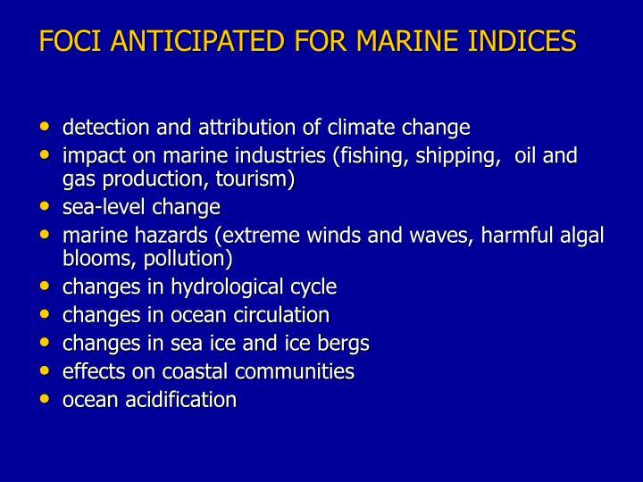 Foci anticipated for marine indices