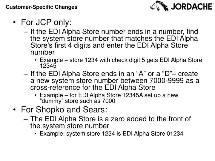 Customer specific changes