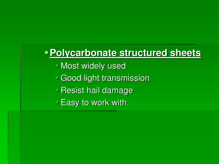 Polycarbonate structured sheets