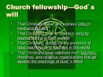 church fellowship god s will2