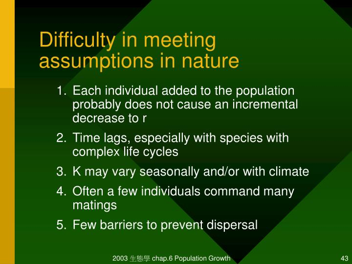 Difficulty in meeting assumptions in nature