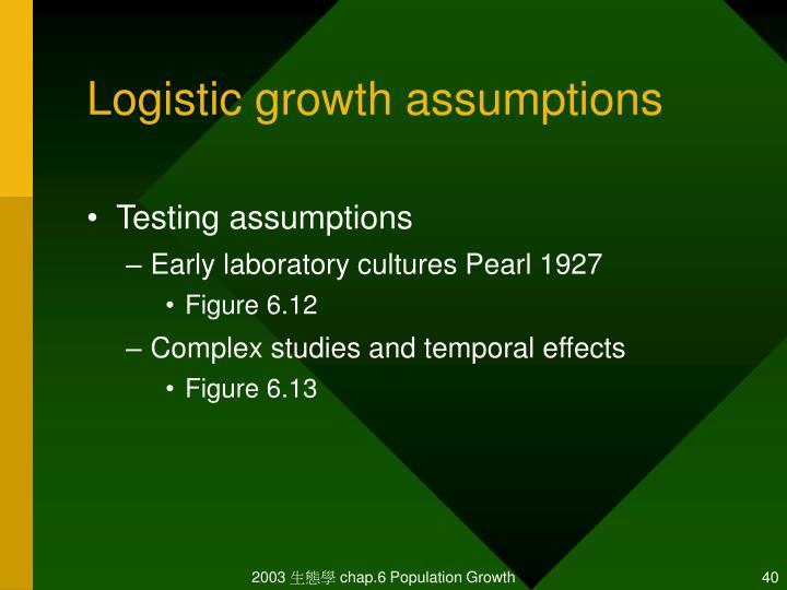 Logistic growth assumptions