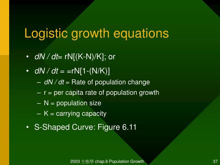 Logistic growth equations