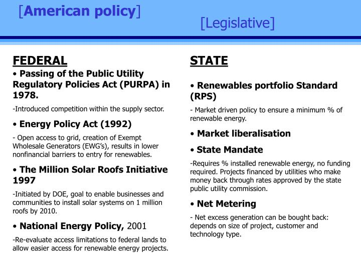 public utility of regulatory policies act purpa You can also add a definition of public utility regulatory policies act of 1978 yourself federal law the requires utilities to purchase electricity from qualified independent power producers at a price that reflects what the utilities would have to pay for the construction of new generati [.