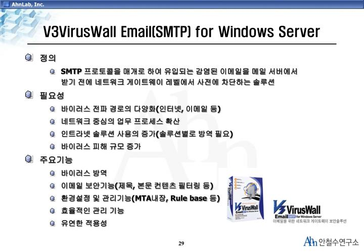 V3VirusWall Email(SMTP) for Windows Server