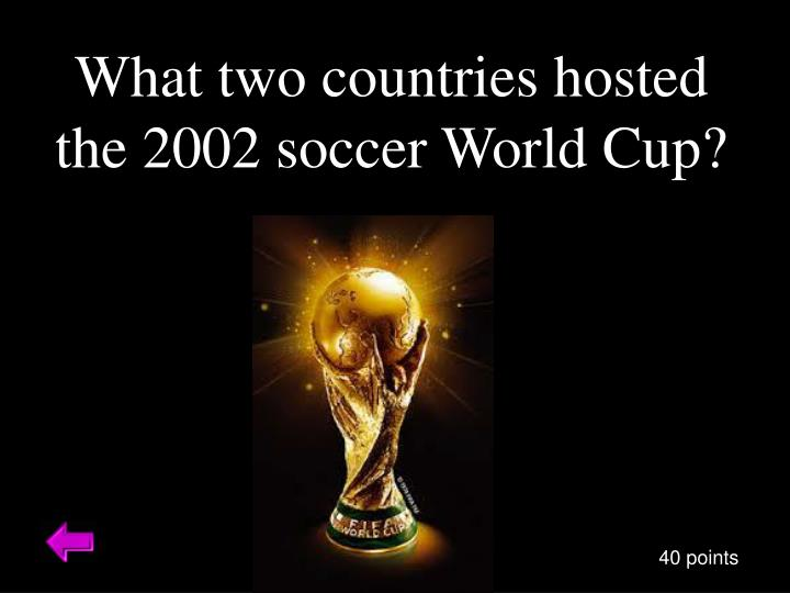 What two countries hosted the 2002 soccer World Cup?